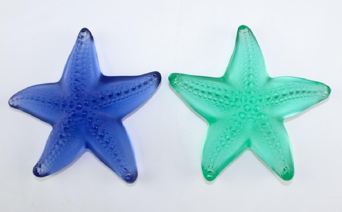 Lalique 2 x Colored Art Glass Starfish Paperweight - 2