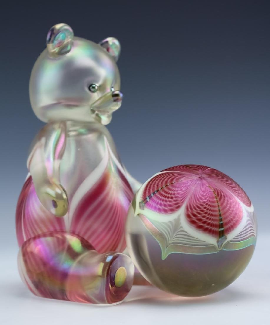 Stuart Ableman Studio Art Glass Bear & Paperweight - 3