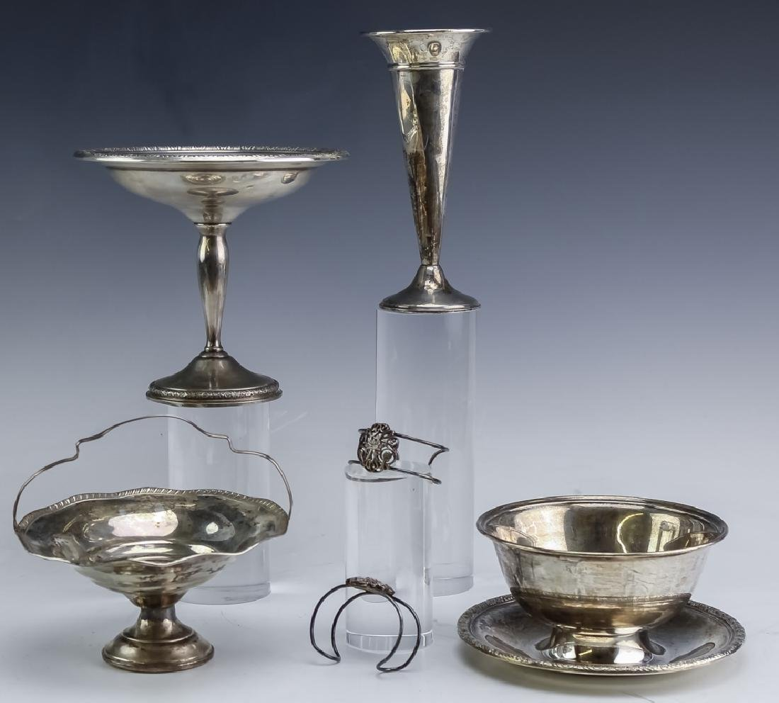 Mixed Estate Lot Sterling Silver Compote Bowl Vase