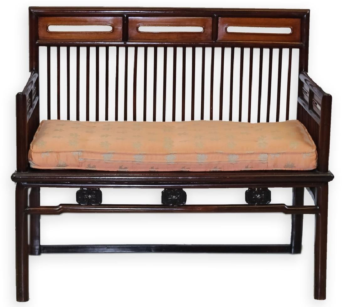 Fine Chinese Wood Settee Bench w Pink Silk Cushion