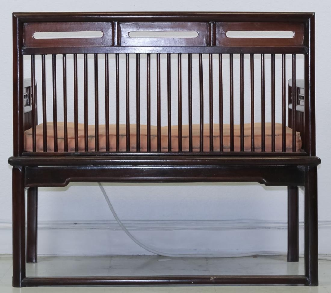 Fine Chinese Wood Settee Bench w Pink Silk Cushion - 5