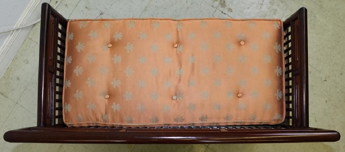 Fine Chinese Wood Settee Bench w Pink Silk Cushion - 6