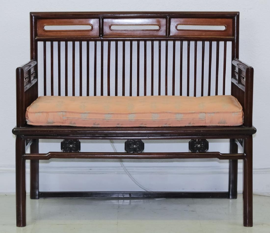 Fine Chinese Wood Settee Bench w Pink Silk Cushion - 9