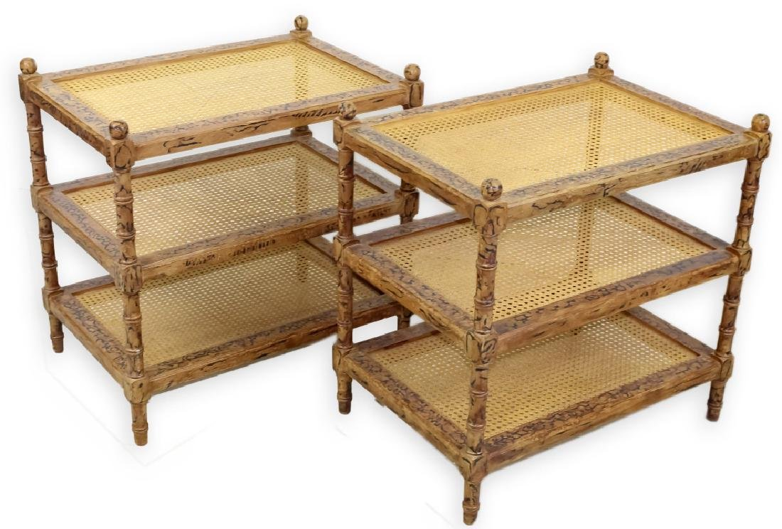 Designer Modern PAIR of Bamboo 3 Tier Stand Tables
