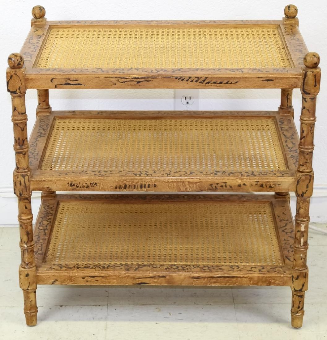 Designer Modern PAIR of Bamboo 3 Tier Stand Tables - 2