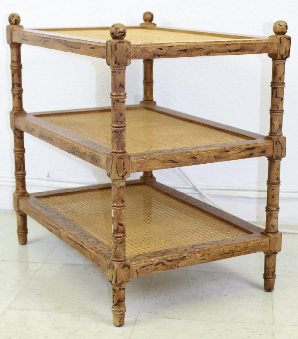 Designer Modern PAIR of Bamboo 3 Tier Stand Tables - 3