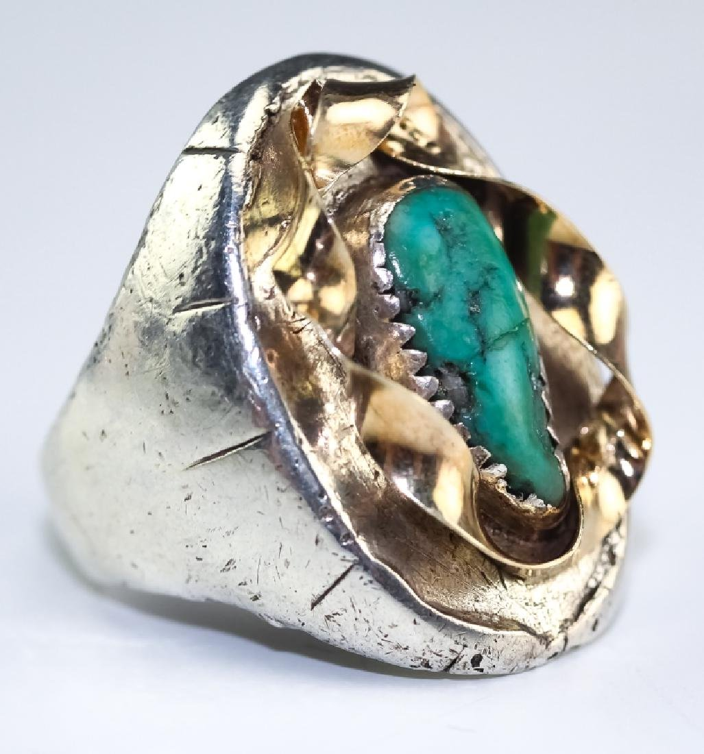 Native American 14k Gold & Silver Navajo Ring s 10