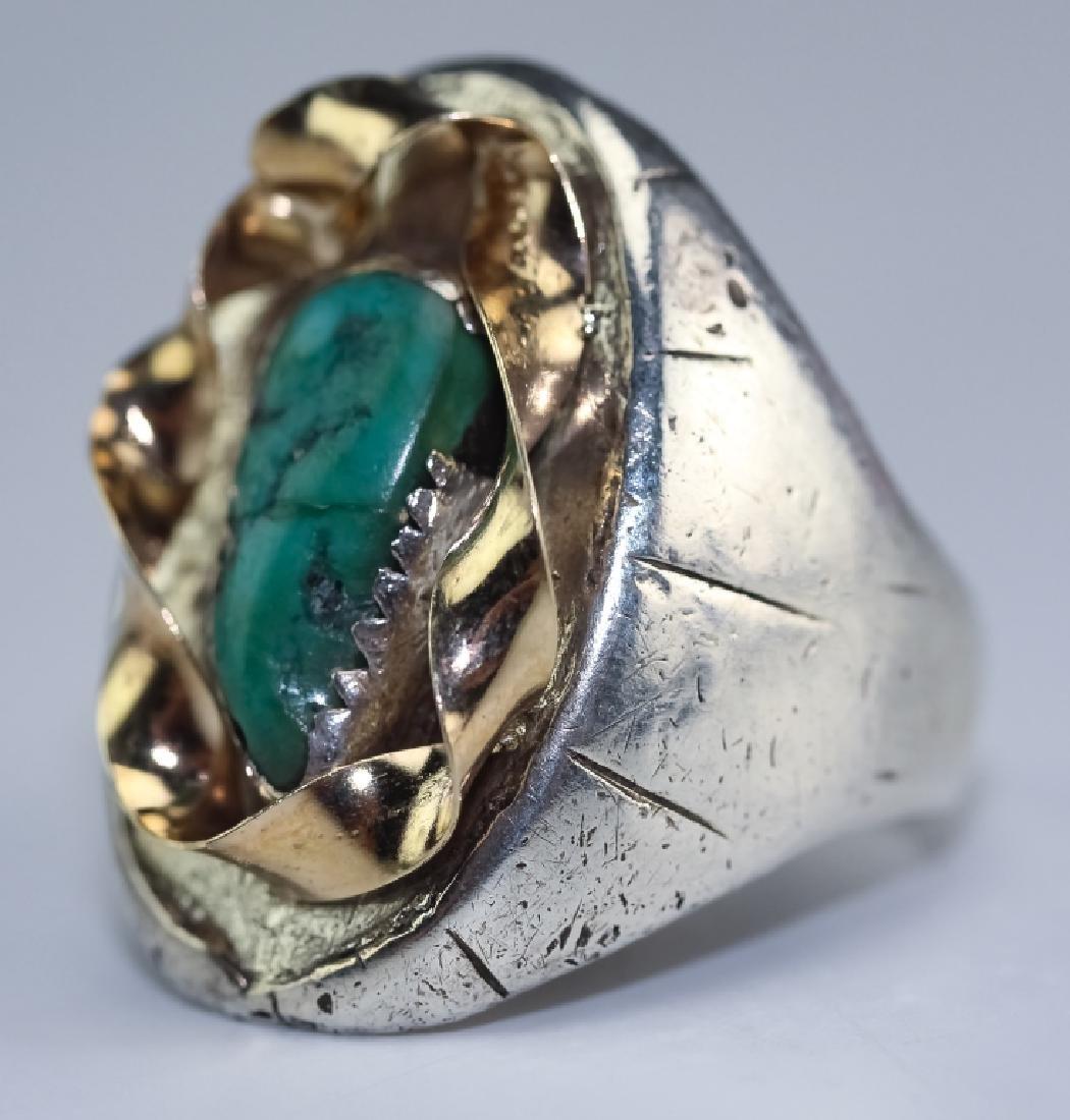 Native American 14k Gold & Silver Navajo Ring s 10 - 2
