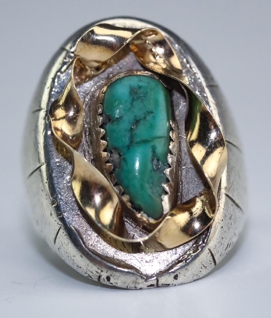 Native American 14k Gold & Silver Navajo Ring s 10 - 3