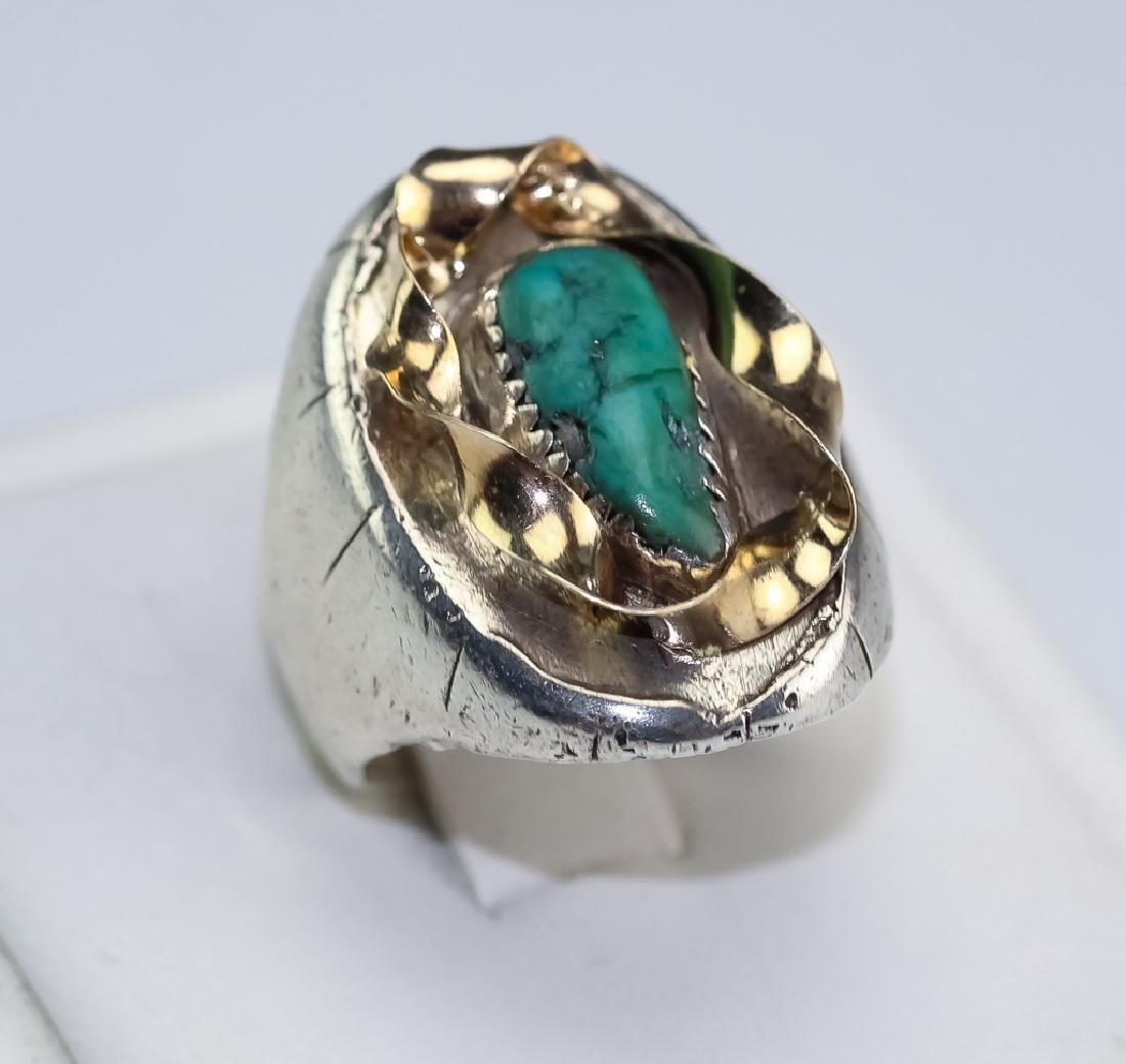 Native American 14k Gold & Silver Navajo Ring s 10 - 6