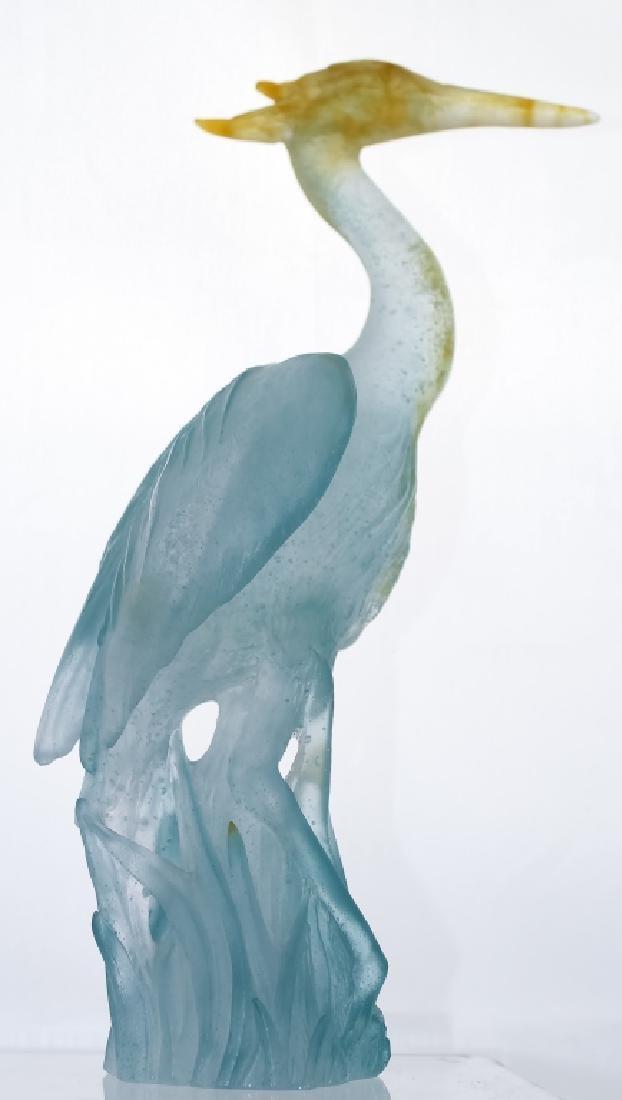 Daum French Pate de Verre Art Glass Heron Statue
