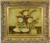 Joyce Roybal Whimsical Puffy Band Oil Art Painting