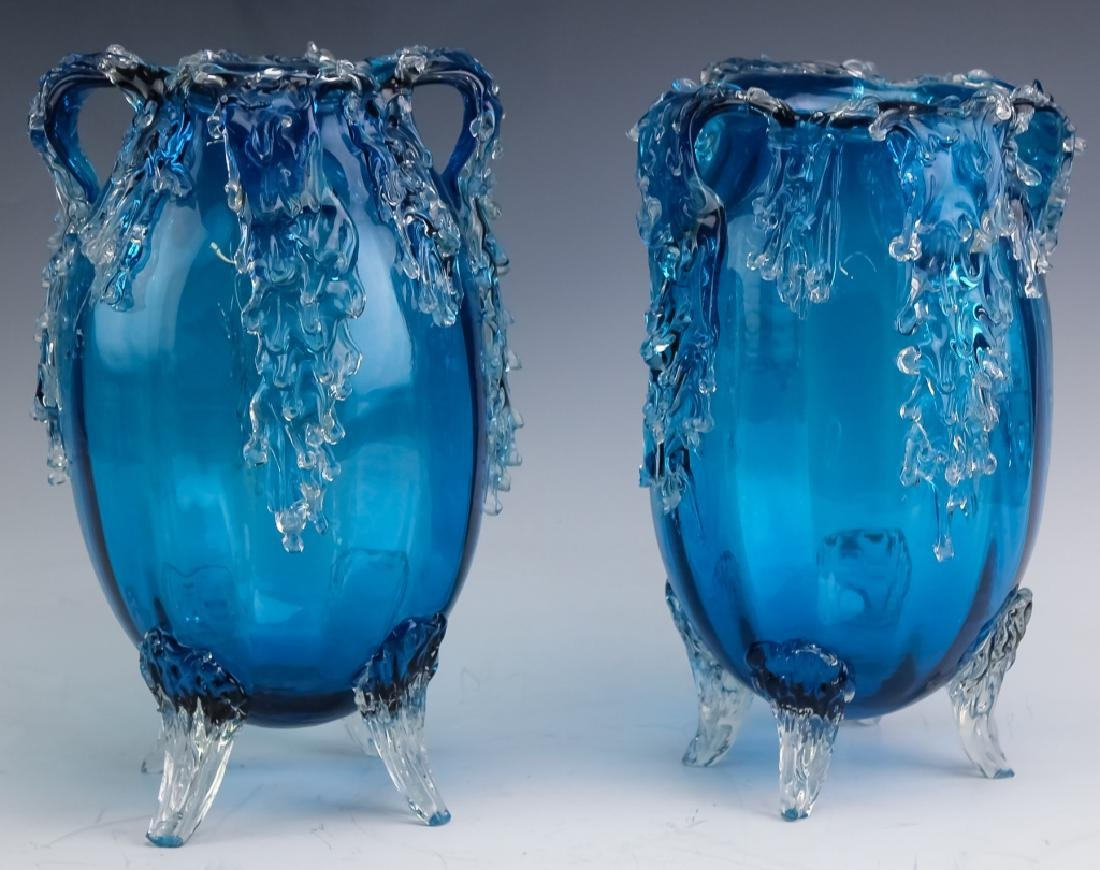 Pair Victorian Style Art Glass Footed Mantle Vases