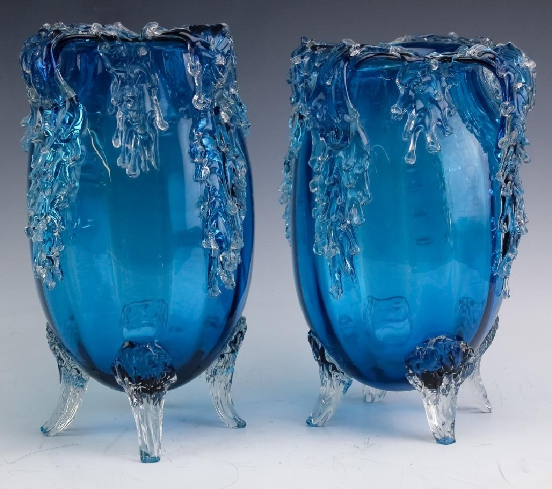 Pair Victorian Style Art Glass Footed Mantle Vases - 6