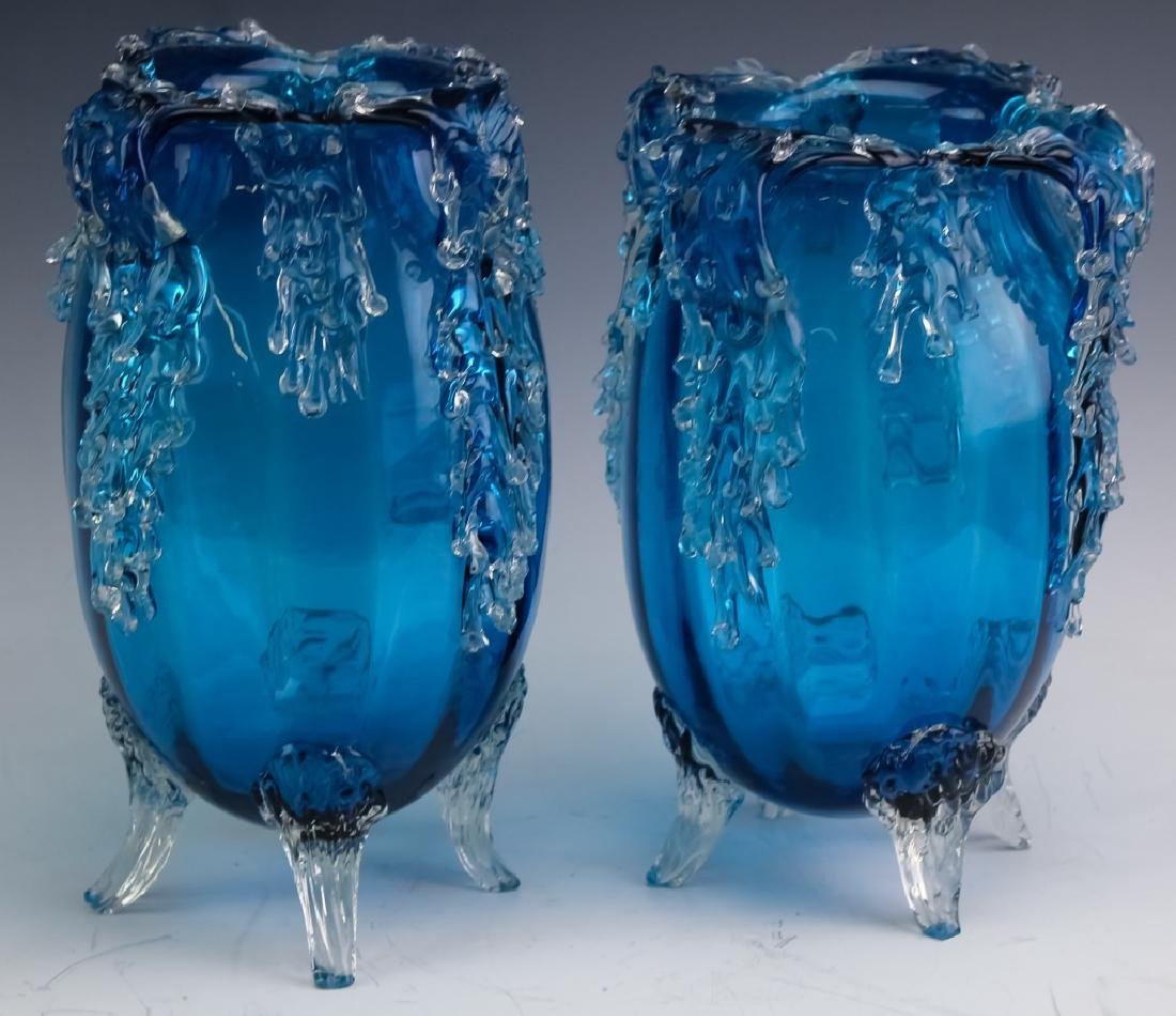 Pair Victorian Style Art Glass Footed Mantle Vases - 7
