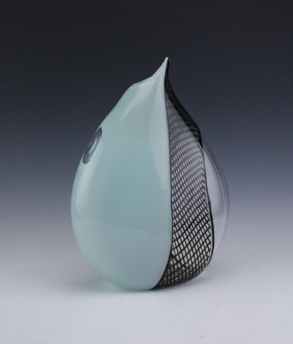 """Giampaolo Seguso Perla Murano Art Glass Vase 14"""" - 4"""