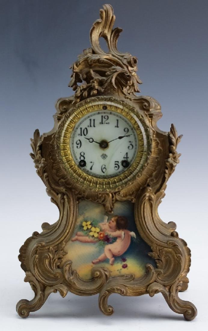 Antique Ansonia French Style Bronze Mantle Clock