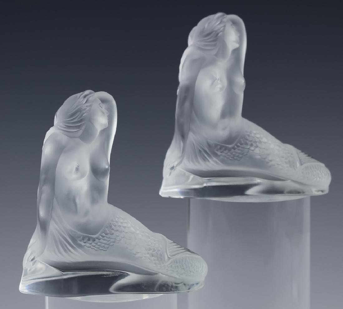 Lalique French PAIR of Art Glass Mermaid Sculpture