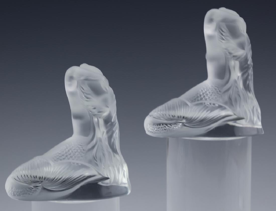 Lalique French PAIR of Art Glass Mermaid Sculpture - 2