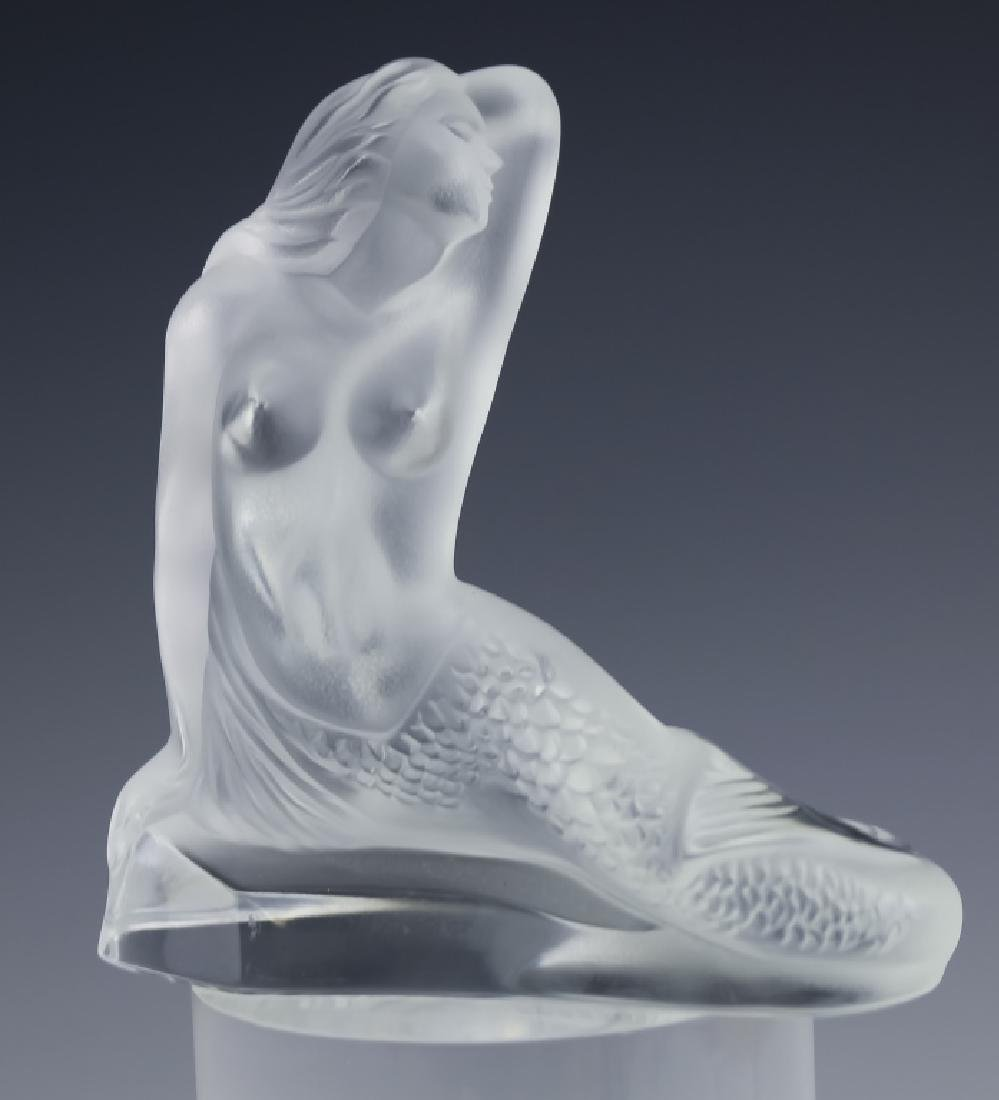 Lalique French PAIR of Art Glass Mermaid Sculpture - 3