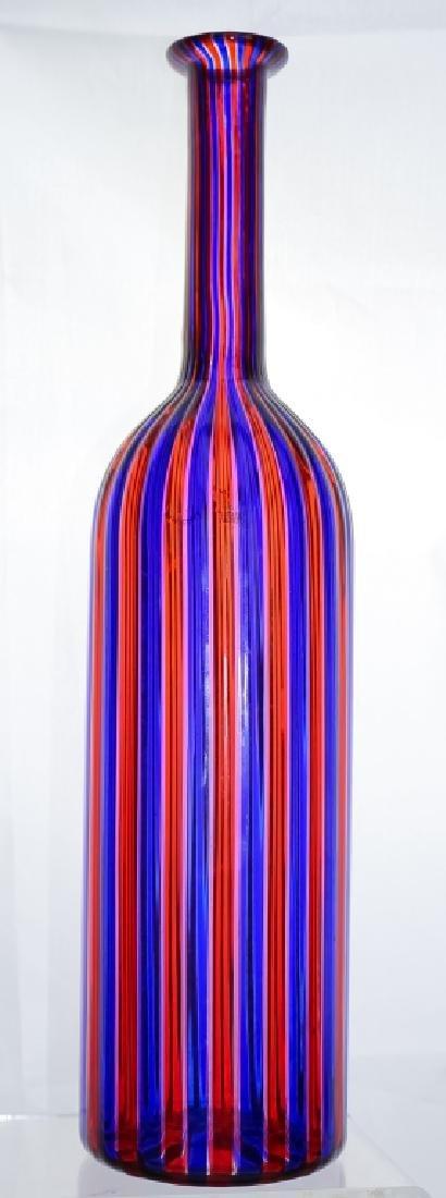 Venini Murano Art Glass Striped Bottle Sculpture