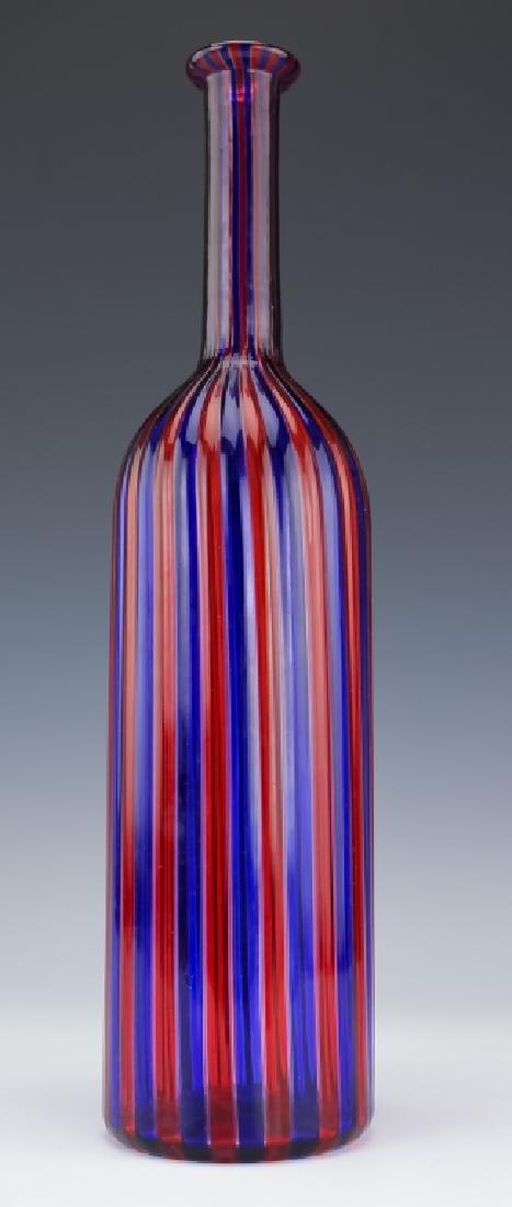 Venini Murano Art Glass Striped Bottle Sculpture - 5