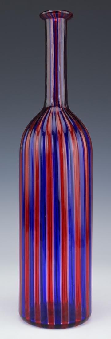 Venini Murano Art Glass Striped Bottle Sculpture - 6