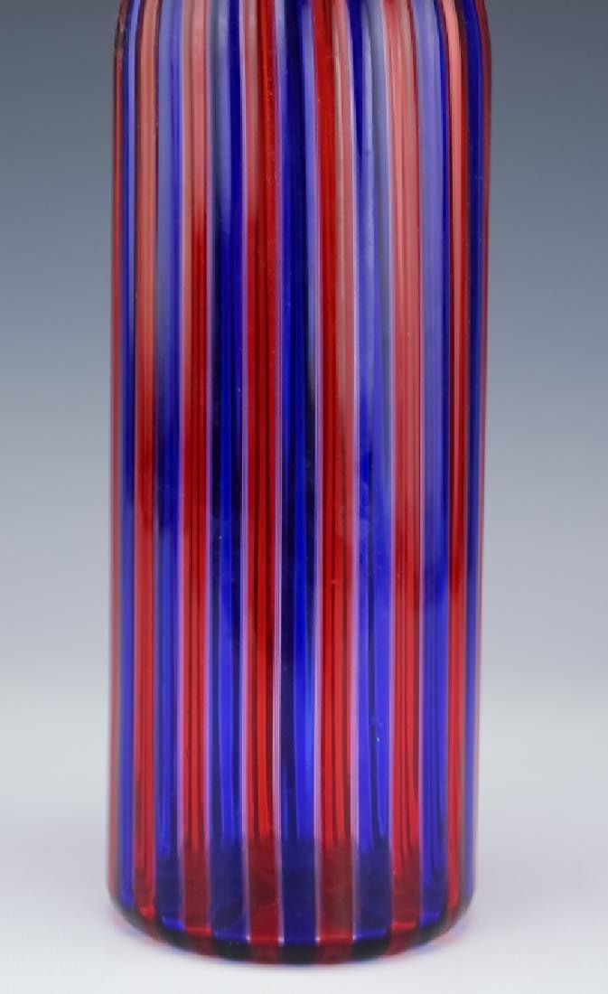 Venini Murano Art Glass Striped Bottle Sculpture - 7