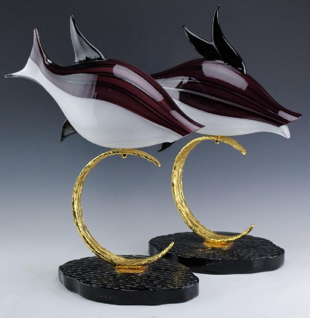 PR Lucio Zanetti Murano Glass Art Fish Sculptures
