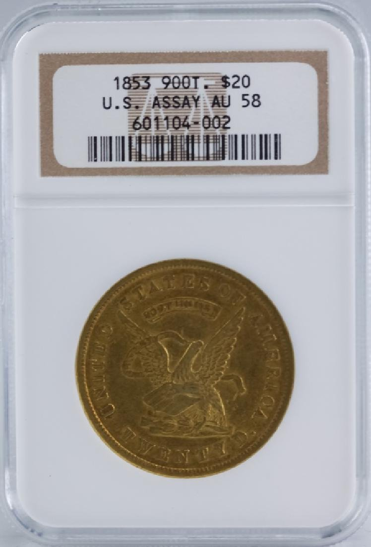 1853 $20 Gold NGC AU58 US Assay Office 900 Coin - 2