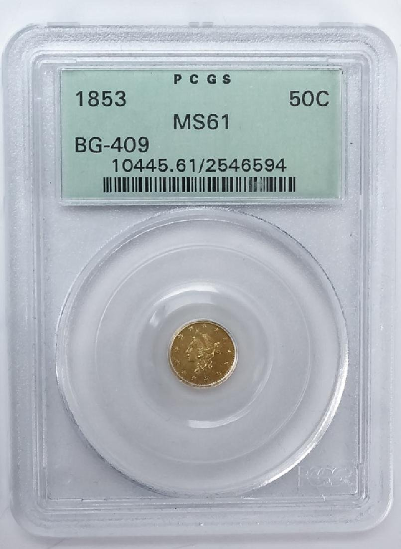 1853 50c BG-409 MS61 California Fractional Gold - 2