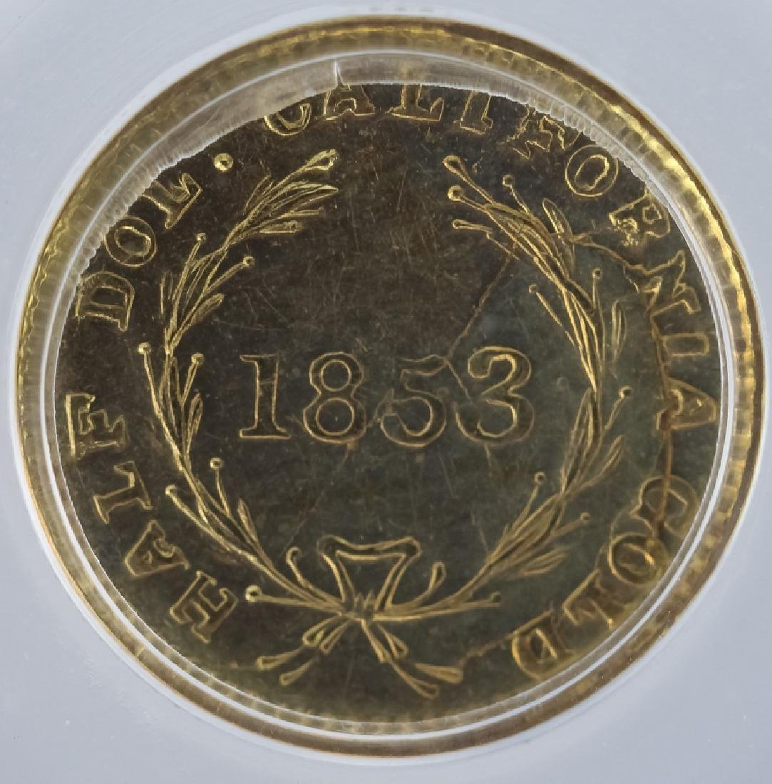 1853 50c BG-409 MS61 California Fractional Gold - 4