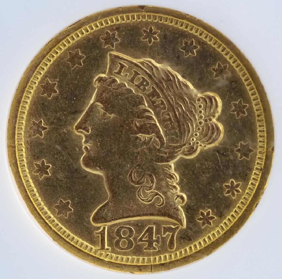 1847 O NGC AU55 $2.5 Gold Quarter Eagle US Coin