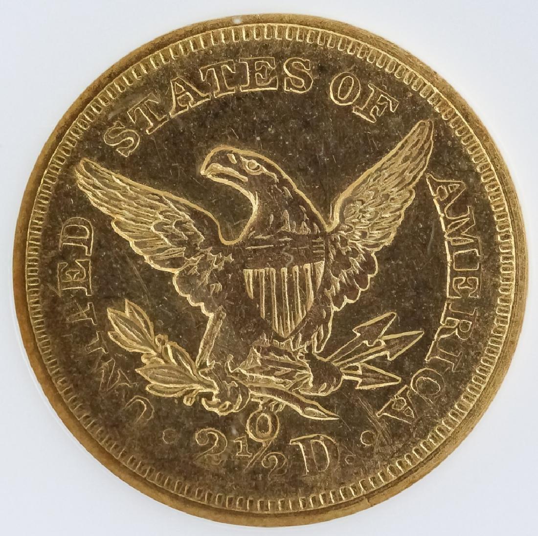 1847 O NGC AU55 $2.5 Gold Quarter Eagle US Coin - 3