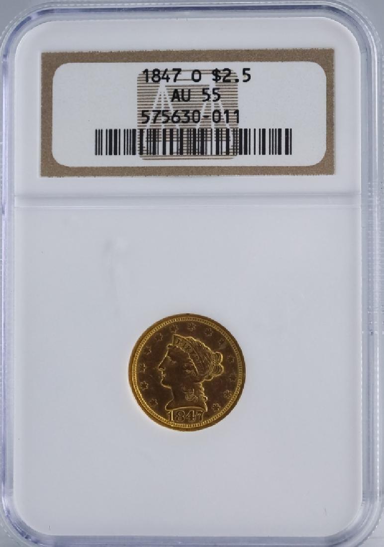 1847 O NGC AU55 $2.5 Gold Quarter Eagle US Coin - 4
