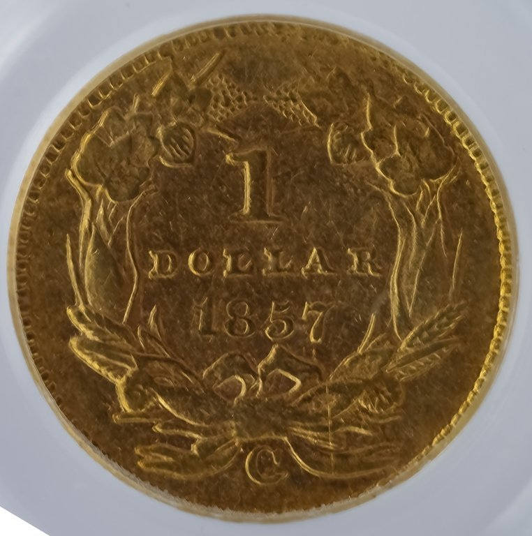 Rotated Die ERROR 1857 C PCGS XF40 $1 Gold Dollar - 2