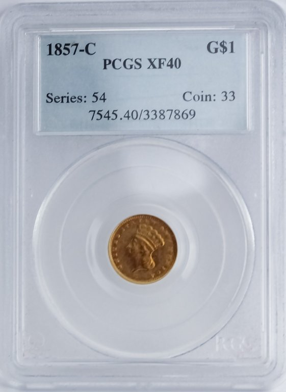 Rotated Die ERROR 1857 C PCGS XF40 $1 Gold Dollar - 3