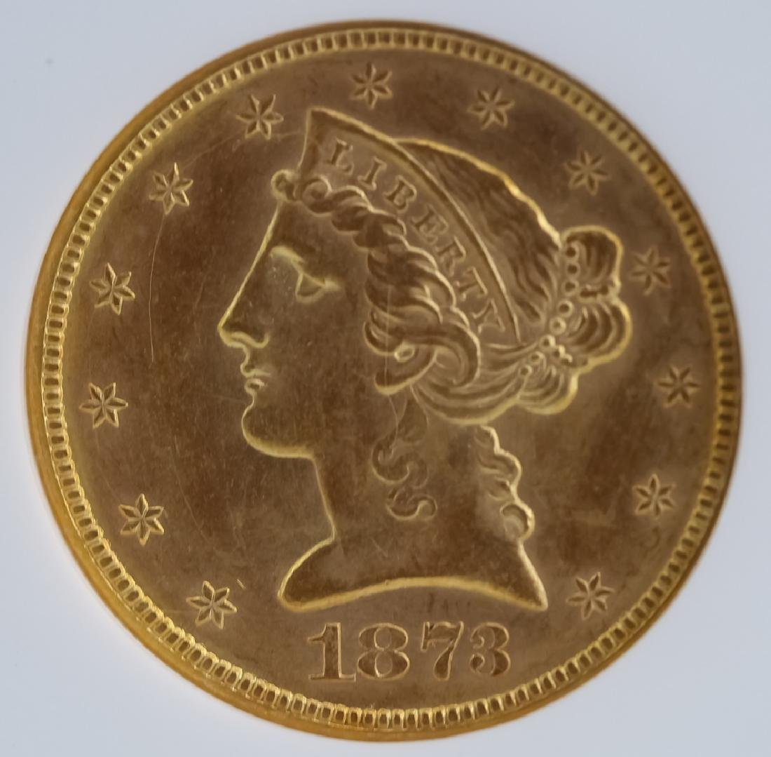 1873 NGC MS62 $5 Closed 3 Gold Half Eagle US Coin