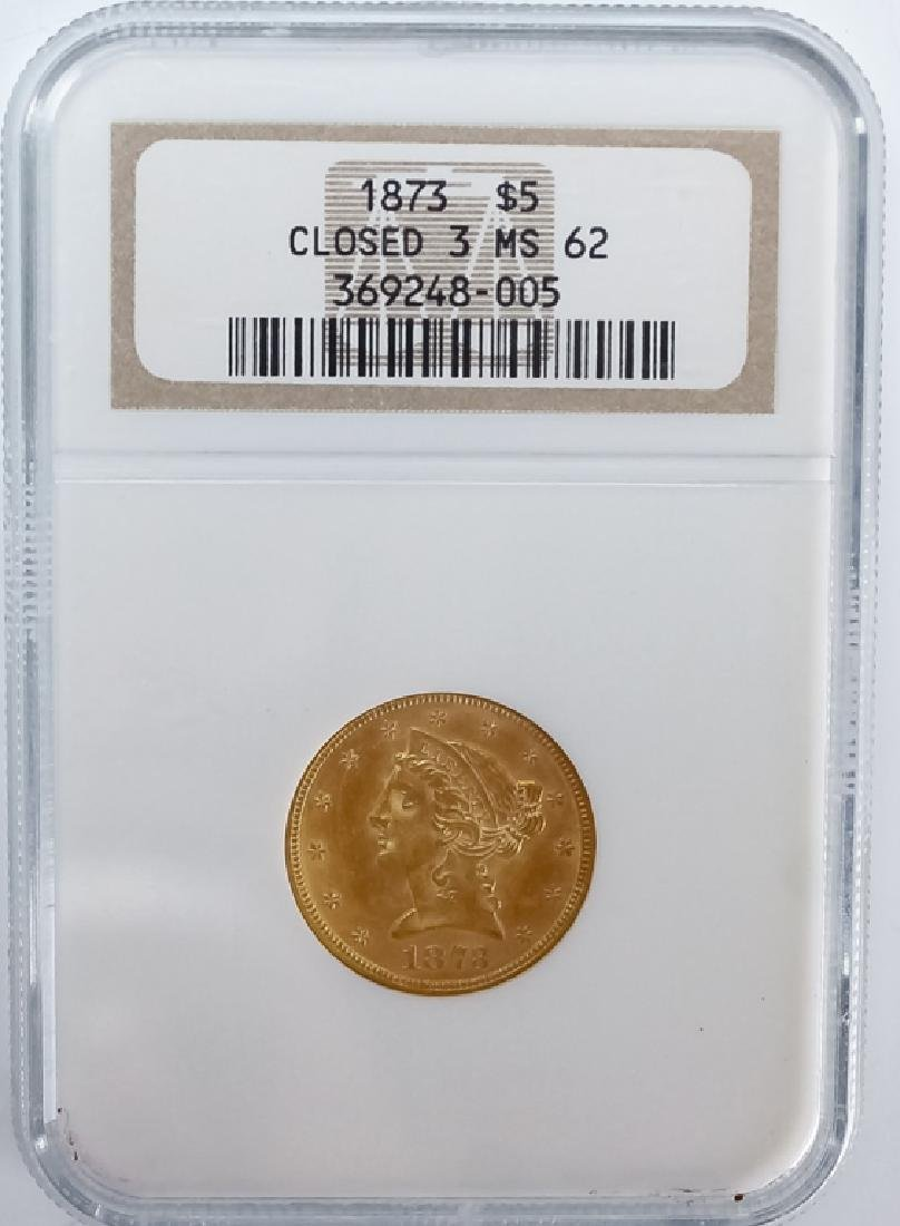 1873 NGC MS62 $5 Closed 3 Gold Half Eagle US Coin - 2