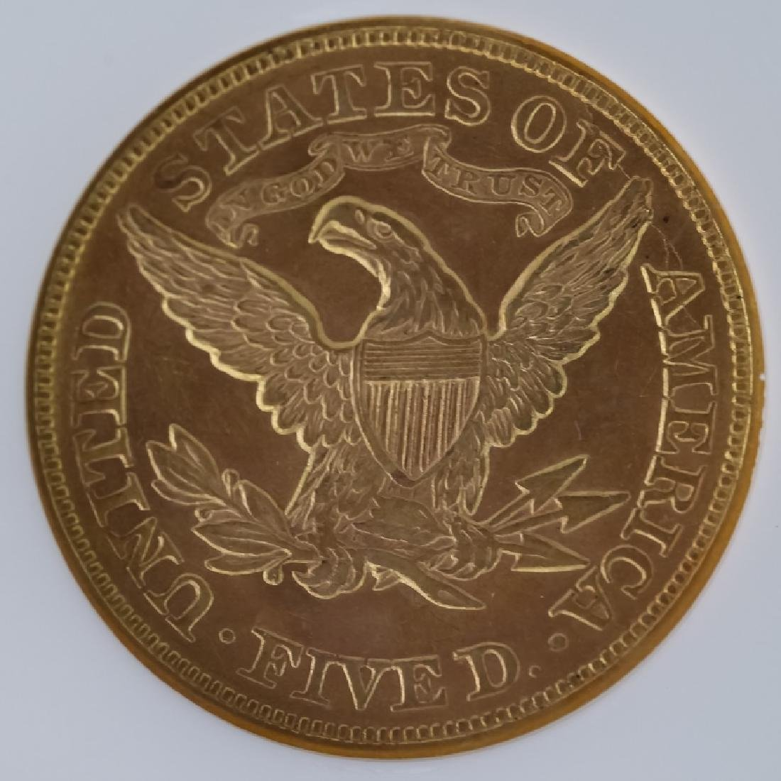 1873 NGC MS62 $5 Closed 3 Gold Half Eagle US Coin - 4