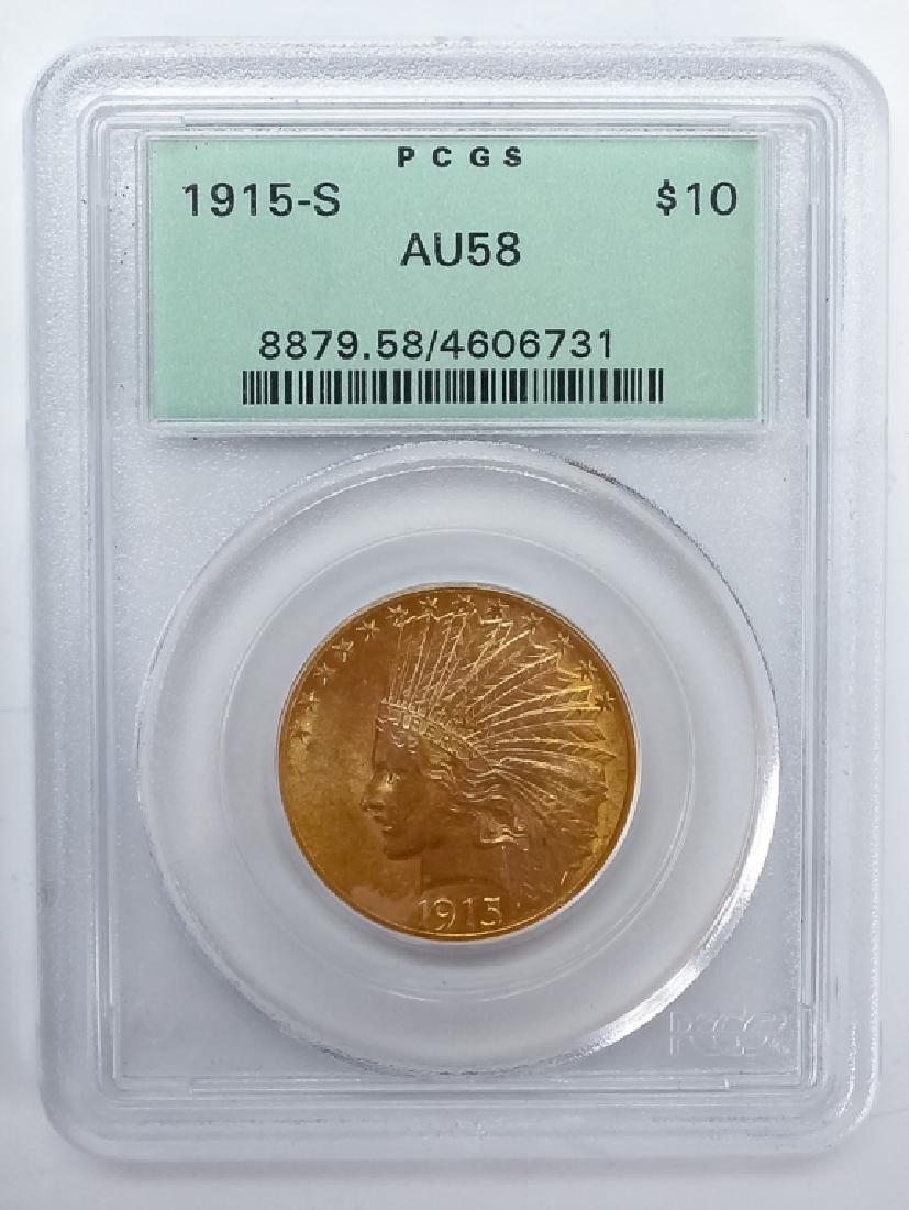 1915 S PCGS AU58 $10 Gold Indian Eagle US Coin
