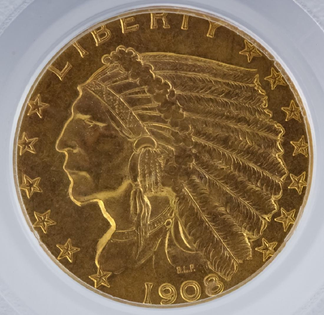 1908 PCGS MS63 $2.50 Gold Indian, American Coin