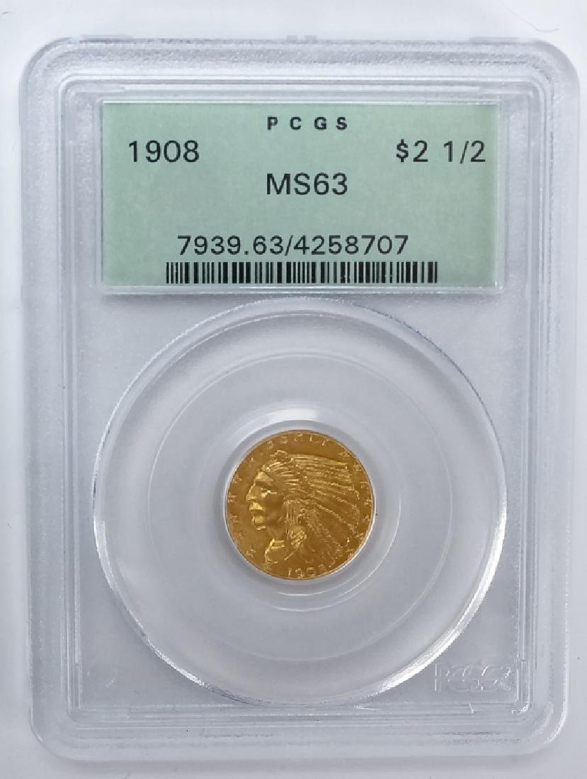 1908 PCGS MS63 $2.50 Gold Indian, American Coin - 2