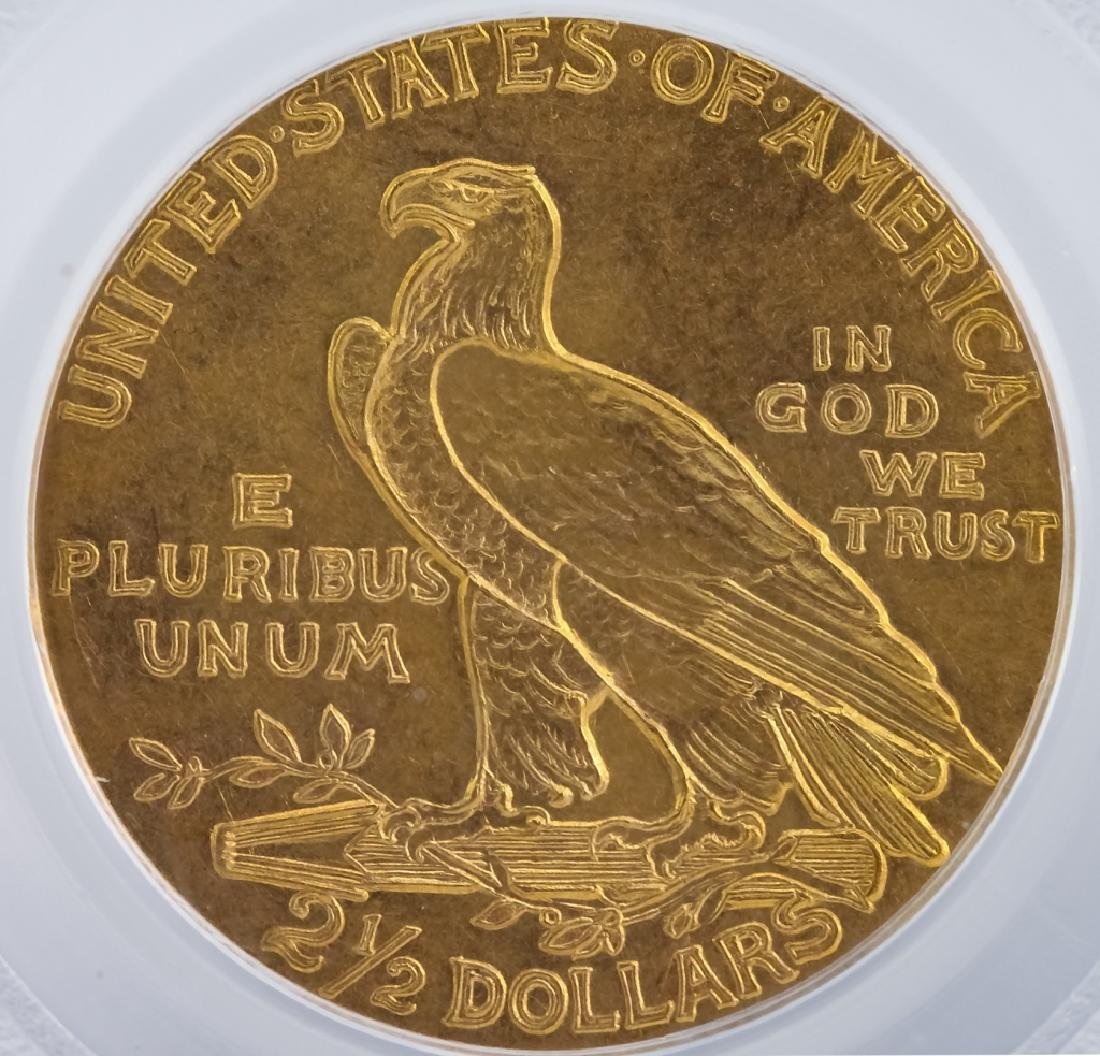 1908 PCGS MS63 $2.50 Gold Indian, American Coin - 4