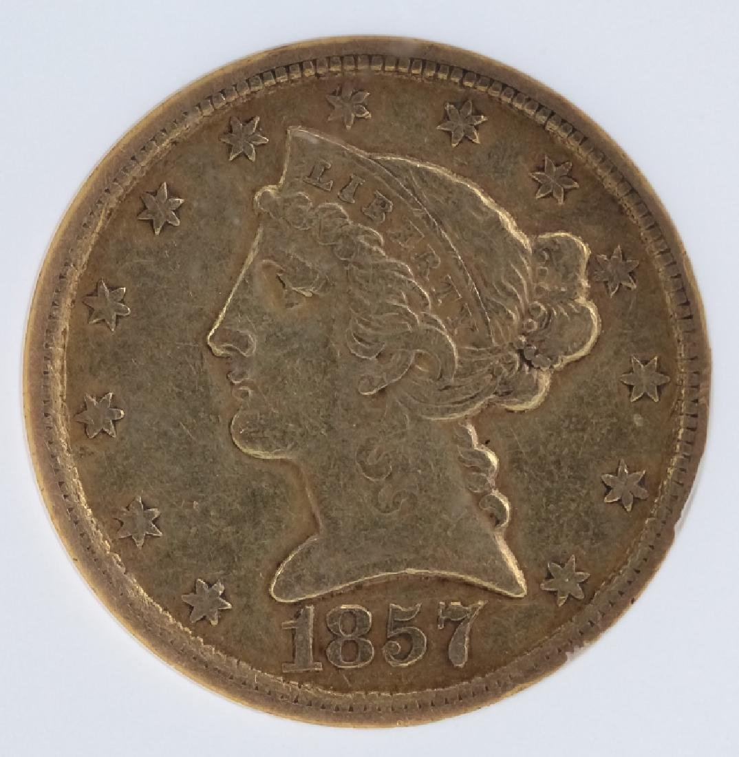 1857 C NGC XF40 $5 Gold Half Eagle Coin, Charlotte