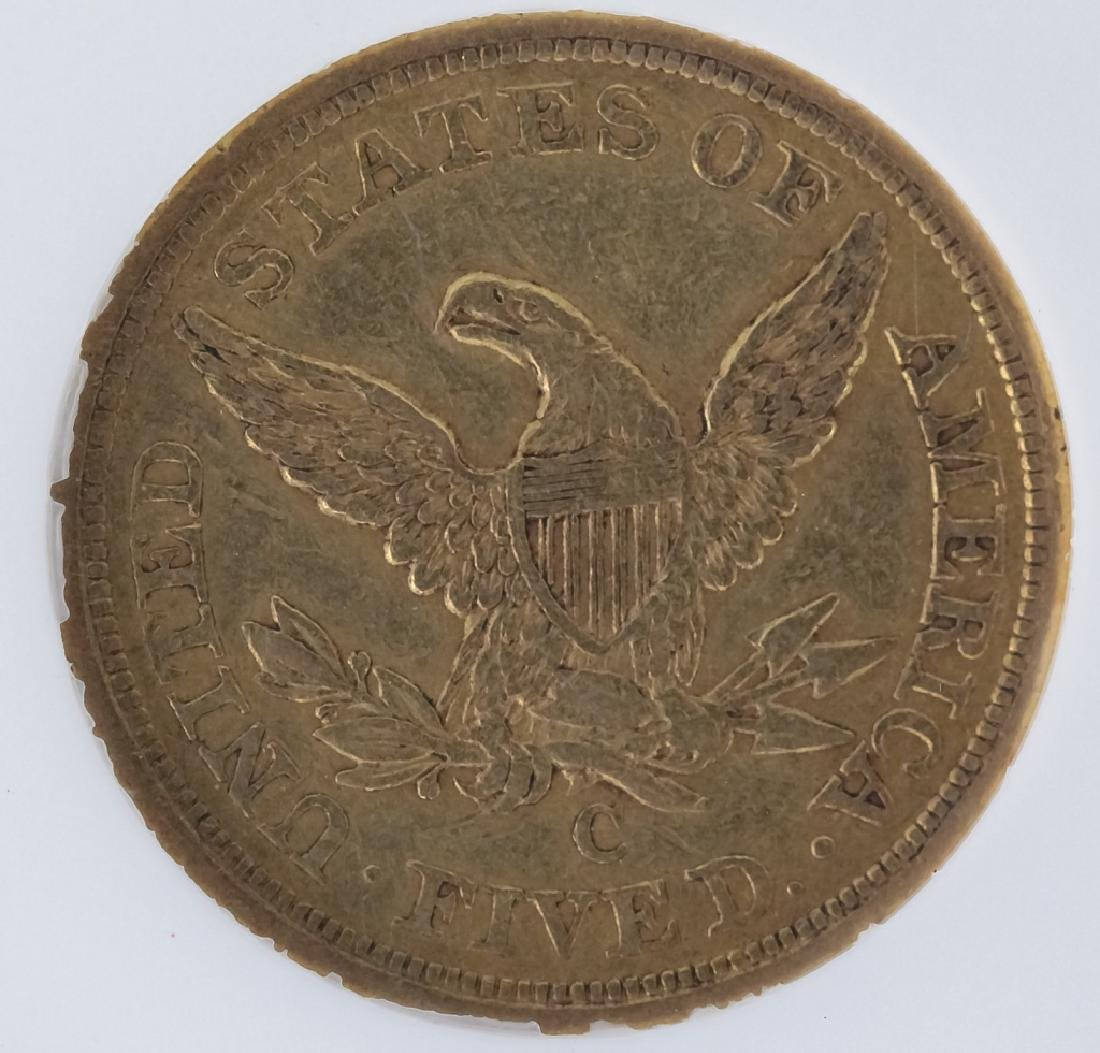 1857 C NGC XF40 $5 Gold Half Eagle Coin, Charlotte - 2