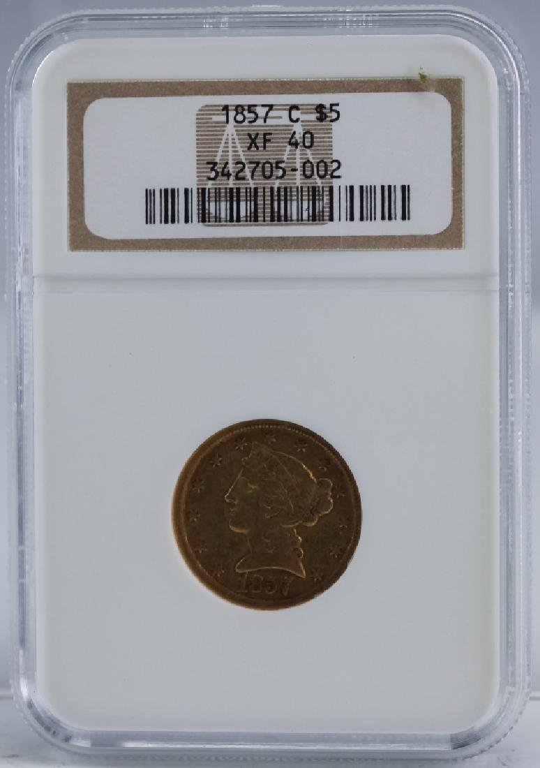 1857 C NGC XF40 $5 Gold Half Eagle Coin, Charlotte - 3