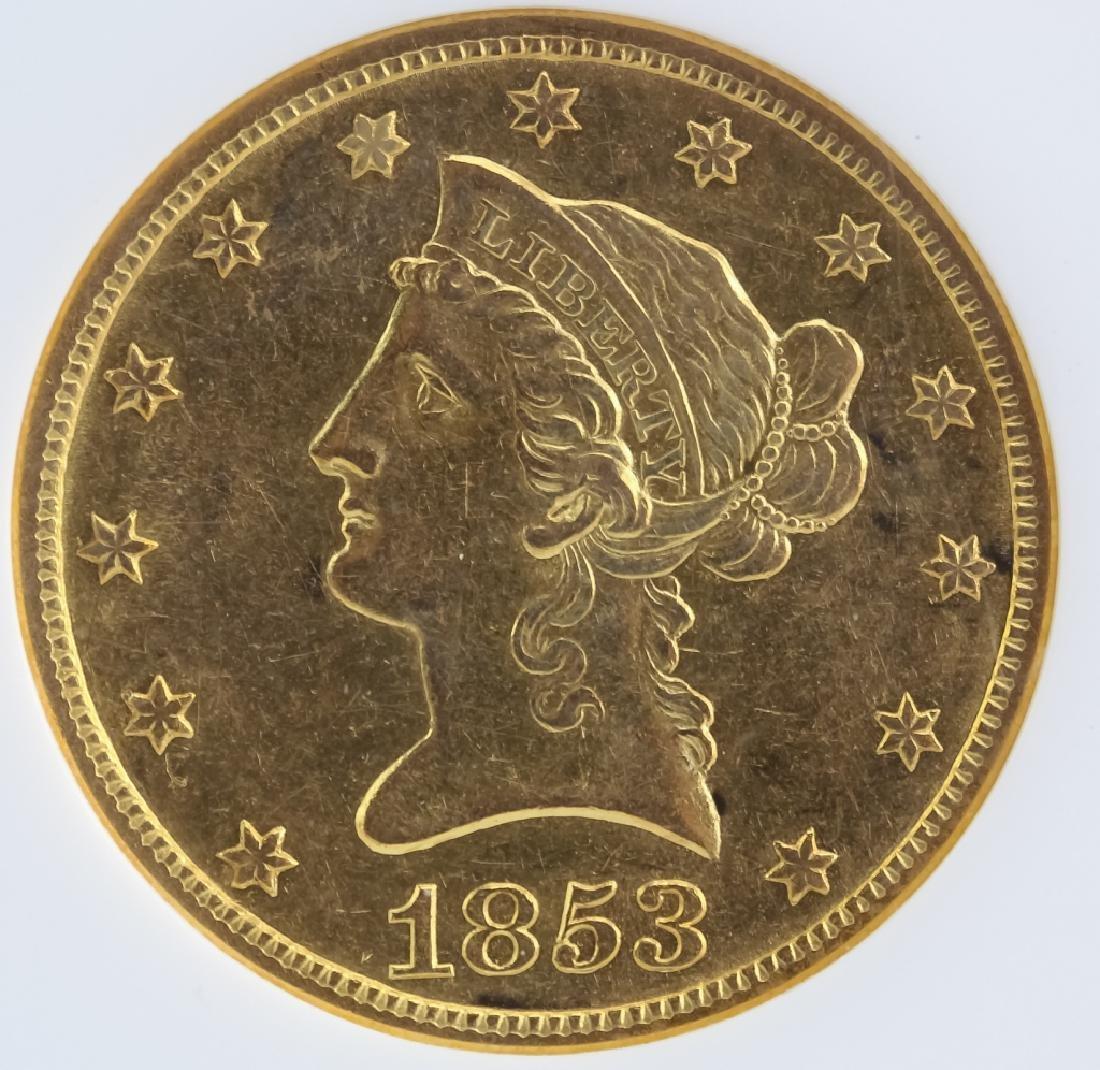 1853 O NGC AU58 $10 Gold American Eagle Coin