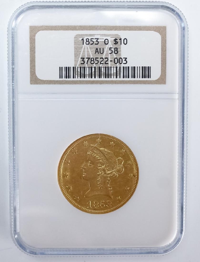 1853 O NGC AU58 $10 Gold American Eagle Coin - 2