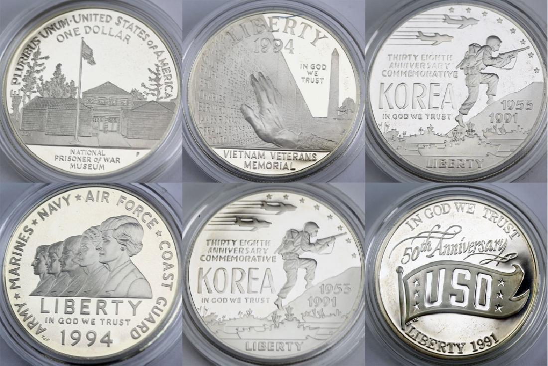 6 US Silver $1 Dollar Military & War Commem Coins